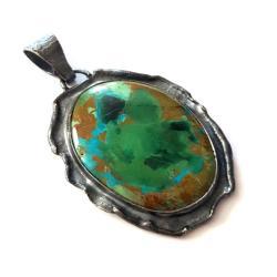 chryzokola,blask,fiolet,srebrny,szary,zieleń,retro - Wisiory - Biżuteria