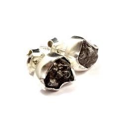 meteoryty,srebrne,blask,czerń,szarość,surowe - Kolczyki - Biżuteria