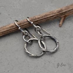 Srebrne surowe kolczyki - Kolczyki - Biżuteria