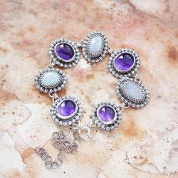 srebrna,bransoletka,z ametystem i opalem - Bransoletki - Biżuteria