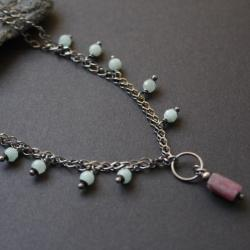 naszyjnik,srebro,rubin,fado,oksydowany - Naszyjniki - Biżuteria