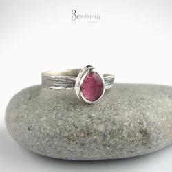 rózowe oczko,turmalin,pierścionek - Pierścionki - Biżuteria