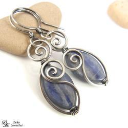 kolczyki,kianit,niebieski,srebro,eleganckie - Kolczyki - Biżuteria