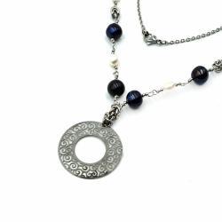 stal szlachetna,chainmaille,perły,JewelsbyKT - Naszyjniki - Biżuteria