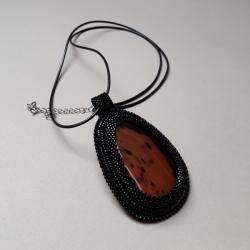 naszyjnik,z agatem,haft koralikowy,czarny,brązowy - Naszyjniki - Biżuteria