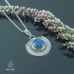 srebrny wisior,czarny labradoryt,listki, - Wisiory - Biżuteria