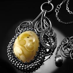 srebrny,naszyjnik,wire-wrapping,bursztyn,ciba - Naszyjniki - Biżuteria