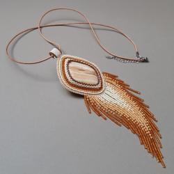 naszyjnik,z jaspisem,z frędzlami, - Naszyjniki - Biżuteria
