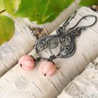 Kolczyki srebrne kolczyki z rzeźbionym koralem,alabama