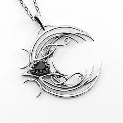 talizman,wisiorek księżyc,gotyski,fantasy - Naszyjniki - Biżuteria