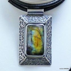 naszyjnik z labradorytem,srebro,biżuteria,wisior - Naszyjniki - Biżuteria