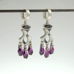 srebrne kolczyki z kryształkami swarovskiego - Kolczyki - Biżuteria