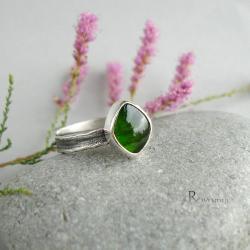 zielony kamień,diopsyd,pierścionek dziewczęcy - Pierścionki - Biżuteria