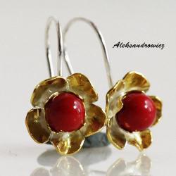 srebro złocone,koral - Kolczyki - Biżuteria