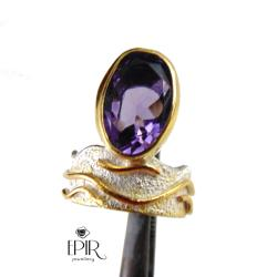 Pierścień srebrny z ametystem - Pierścionki - Biżuteria