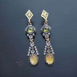 srebrne,pozłacane,kolczyki,z cytrynem - Kolczyki - Biżuteria