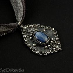 kianit,filigran,bogato zdobiony,wisior,srebro, - Wisiory - Biżuteria