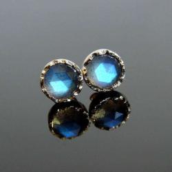złoto,labradoryt,kolczyki,unikat,sztyfty,niebieski - Kolczyki - Biżuteria