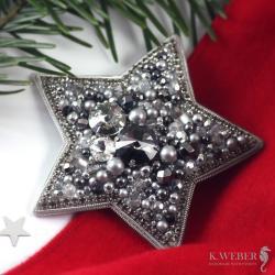 Broszka,gwiazda,srebrna,swarovski, - Broszki - Biżuteria