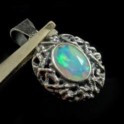 opal,blask,srebrny,srebro,zielony,tęczowy,okaz - Wisiory - Biżuteria