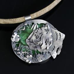 wisior tygrys,srebrny naszyjnik z tygrysem - Wisiory - Biżuteria
