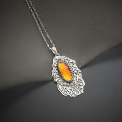 srebrny,naszyjnik,z bursztynem,z kwiatami - Naszyjniki - Biżuteria
