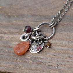 subtelny surowy wisiorek z kamieniem słonecznym - Wisiory - Biżuteria