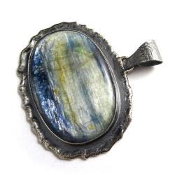 kyanit,blask,srebrny,retro,okazały,stylowy,niebo - Wisiory - Biżuteria