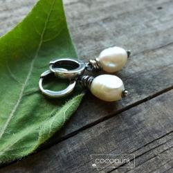 minimalistyczne,z perłami,srebrne,komplet - Kolczyki - Biżuteria