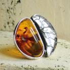 Pierścionki srebro,pierścionek,bursztyn,oksyda,hand made