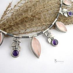 pastelowe barwy,naszyjnik romantyczny - Naszyjniki - Biżuteria