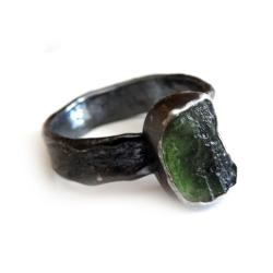 mołdawit,blask,zielony,srebrny,srebro,retro,tektyt - Pierścionki - Biżuteria