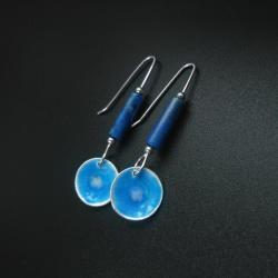 kolczyki srebrne,długie,niebieskie,biżuteria - Kolczyki - Biżuteria