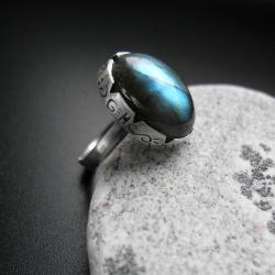 pierścień,pierścionek z labradorytem,biżuteria - Pierścionki - Biżuteria