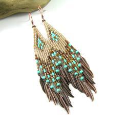 kolczyki indiańskie,koralikowe,szklane - Kolczyki - Biżuteria