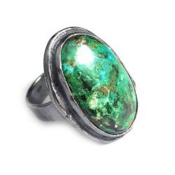 chryzokola,blask,zielony,unikat,wiosenny,malachit - Pierścionki - Biżuteria