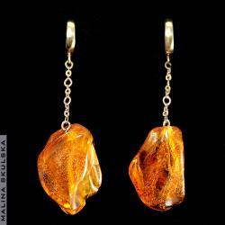 bursztyn,złocone,wiszące,proste,eleganckie - Kolczyki - Biżuteria