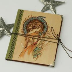 szkicownik,notatnik,pirografia,muza,secesja - Notesy - Akcesoria