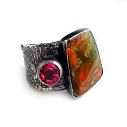 ammolit,srebrny,topaz,perła,muszla,srebro,różowy - Pierścionki - Biżuteria