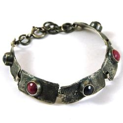 srebrna bransoleta z rubinami i szafirami - Bransoletki - Biżuteria