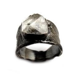 94b9c15134d50d diament,herkimer,kryształ,srebrny,szarości,mienrał - Pierścionki - Biżuteria