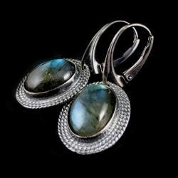 labradoryt,srebrne,blask,surowe,cobalt,retro - Kolczyki - Biżuteria
