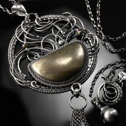 srebrny,naszyjnik,wire-wrapping,piryt,złoty,ciba - Naszyjniki - Biżuteria