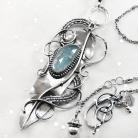 Naszyjniki srebrny,naszyjnik,piórko,wire-wrapping,akwamaryn