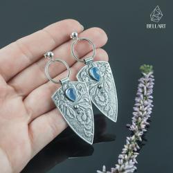 kolczyki kwiaty,trójkąty,chalcedon,romantyczne - Kolczyki - Biżuteria