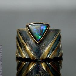 amolit,masywny pierścionek,unikat,oryginalny - Pierścionki - Biżuteria