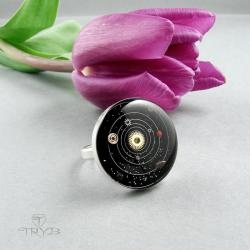 pierścionek kosmos,układ słoneczny - Pierścionki - Biżuteria
