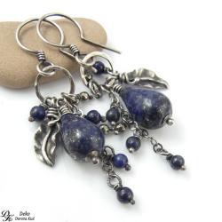 kolczyki,lapis lazuli,piryt,listki,srebro,delikatn - Kolczyki - Biżuteria
