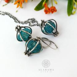 srebrny komplet z surowymi apatytami,alabama - Komplety - Biżuteria