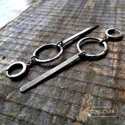 długie,geometryczne,surowe,oksydowane,wiszące - Kolczyki - Biżuteria